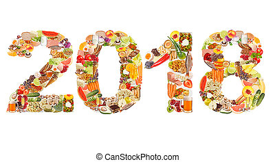 2018 made of food isolated on white background