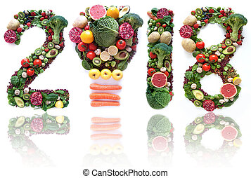 2018 made of fruits and vegetables including a light bulb...