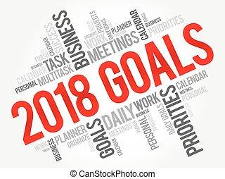 2018, metas, palavra, nuvem