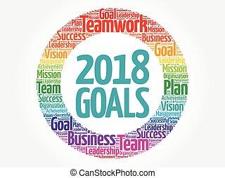 2018, metas, palavra, nuvem, colagem