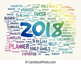 2018, metas, palavra, nuvem, conceito negócio