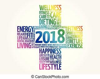 2018, metas, saúde, palavra, nuvem