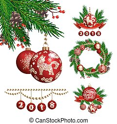 2018 new year and christmas decoration