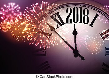 2018 new year background with clock