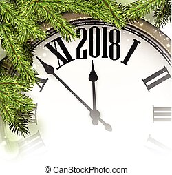 2018 New Year background with clock. - 2018 New Year ...