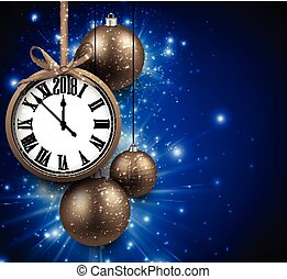 2018 New Year background with clock. - 2018 New Year blue...