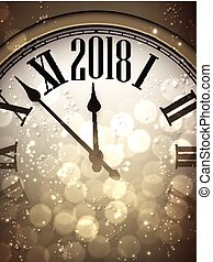 2018 New Year background with clock. - 2018 New Year sepia...