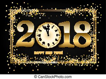 2018 New Year Background with clock and gold confetti. Vector  i