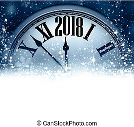 2018 New Year background with clock. - Blue 2018 New Year...