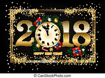 2018 New Year Background with clock, gift box, candy cane, pine