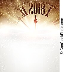 Golden 2018 New Year background with clock and snow. Vector illustration.