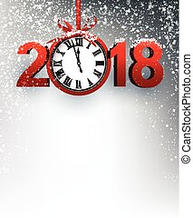 2018 New Year background with clock. - Grey 2018 New Year...