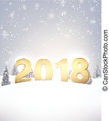 2018 New Year background with snow.