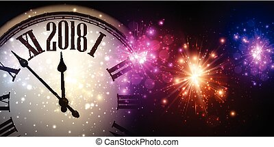 2018 New Year banner with clock.