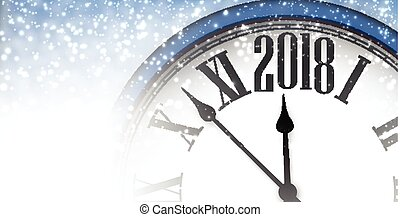 2018 New Year banner with clock. - 2018 winter banner with...