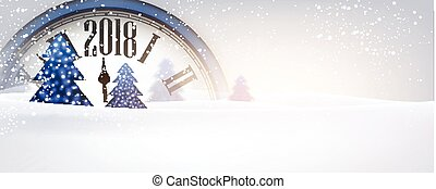 2018 New Year banner with clock. - 2018 New Year banner with...
