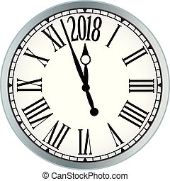 2018 New Year black clock on white background.
