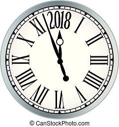 2018 New Year black clock on white background.