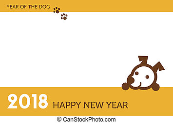 2018 New year card with cute dog