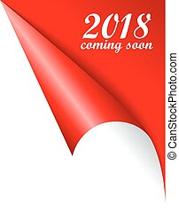 2018 New Year coming soon vector curled page