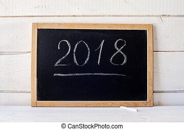 2018 New Year Concept blank blackboard