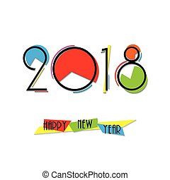 2018 New Year creative numbers design for your greeting card on white background