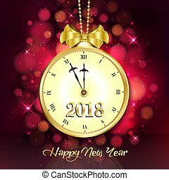 2018 New year dark pink background with vintage clock and golden