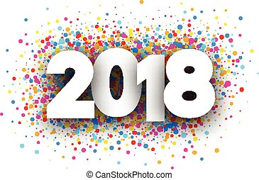 2018 new year background with colorful drops. Vector paper illustration.