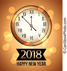 2018 new year gold shining background with clock