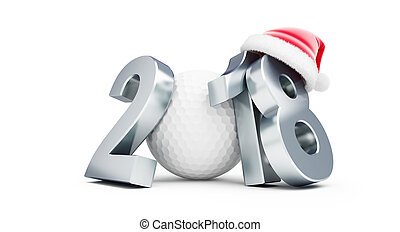 2018 new year golf bal santa hat on a white background 3D...
