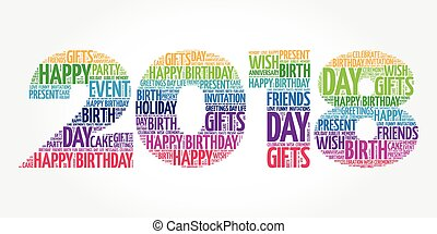2018 New Year, Happy Birthday word cloud collage, holiday...