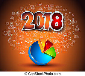 2018 New Year Infographic and Business Plan Backgroundwith...