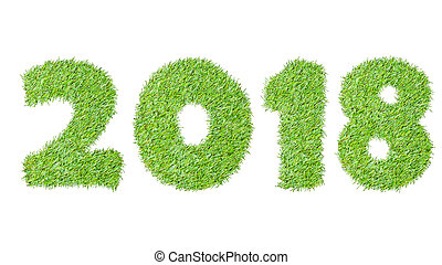 2018, New year made from the green grass, isolated on white can use as abstract background