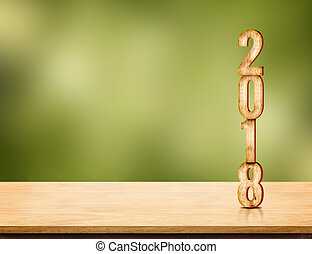 2018 new year number ( 3d rendering ) on brown wood table...