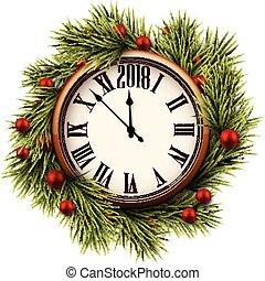 2018 New Year round clock.