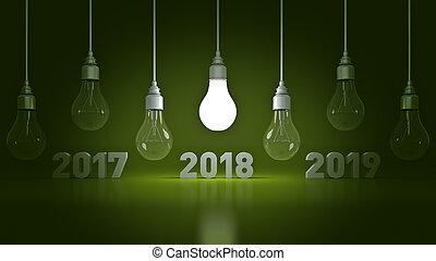 2018 New Year sign inside light bulbs.