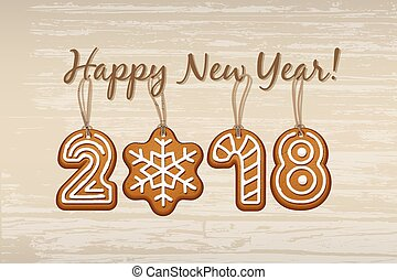 2018 New Year sign made of ginger cookies with vintage strings on wooden background. Vector 2018 Happy New Year design template
