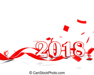 2018 New Year sign with present isolated on white