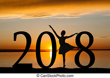2018 New Year Silhouette of Ballet Girl at Golden Sunset