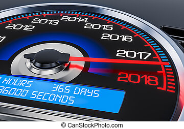 2018 New Year speedometer concept, 3D rendering