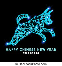 2018 New Year Vector illustration of Canis Major. Dog constellation hand-drawn background. Astrology picture on blurry space background.