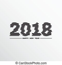 2018 New Year with Glitch effect. Vector.