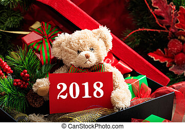 2018 new year with teddy bear and gifts