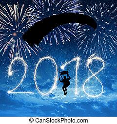 2018., nieuw, skydiver, tussenverdieping, jaar