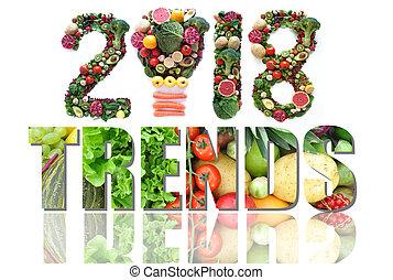2018, nourriture, et, santé, tendances