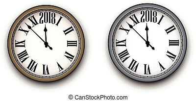 2018, nuevo, redondo, clock., año