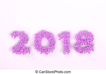 2018 number from violet balls on white background
