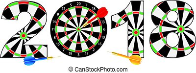2018 Numerals with Dartboards and Darts Illustration - 2018...
