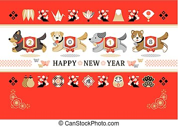 2018, nuovo anno, scheda, correndo, cane, giapponese, stile,...