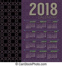 2018 Printable Calendar Starts Sunday Vector Illustration